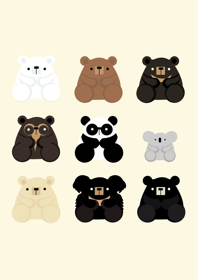 Types of Bears - fotokunst von Katherine Blower
