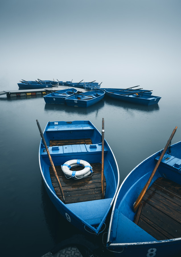 Blue Boats in the Fog - Fineart photography by Niels Oberson
