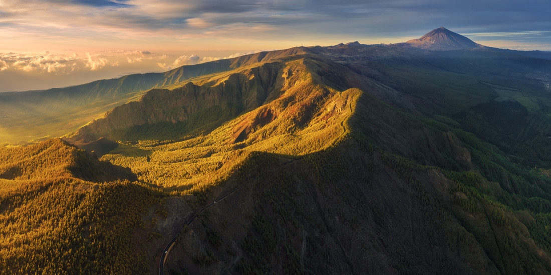 Tenerife Teide Plateau Aerial Panorama during Sunrise - Fineart photography by Jean Claude Castor