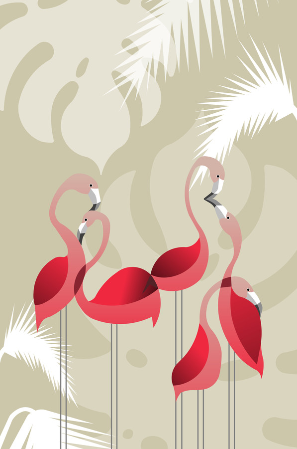 Flamingoes in love - fotokunst von Sabrina Ziegenhorn