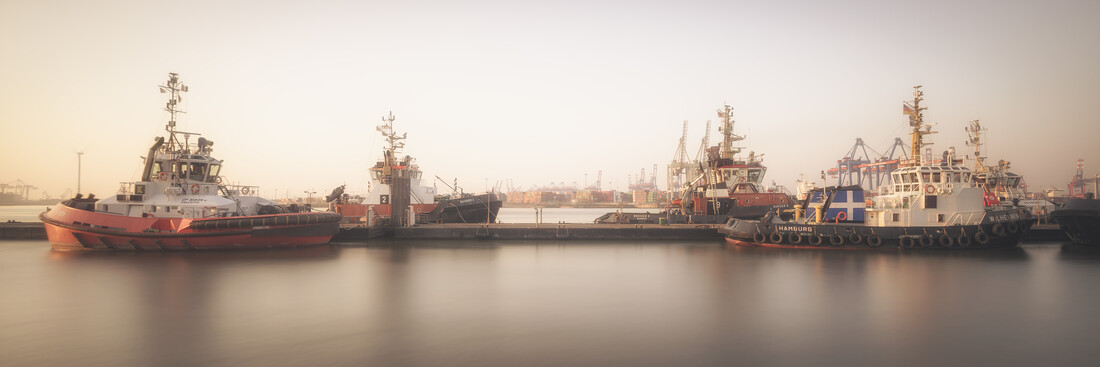 Sunrise Tug Boat Hamburger harbour - Fineart photography by Dennis Wehrmann