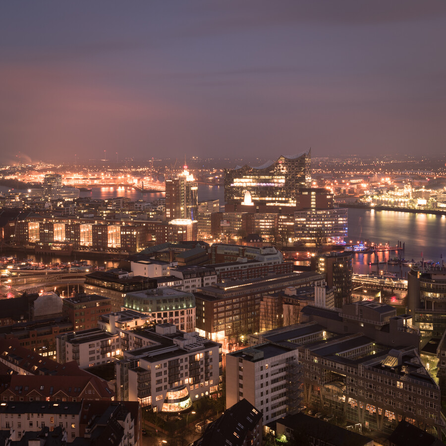 Night panorama Hamburger harbour district and Elbphilharmonie - Fineart photography by Dennis Wehrmann