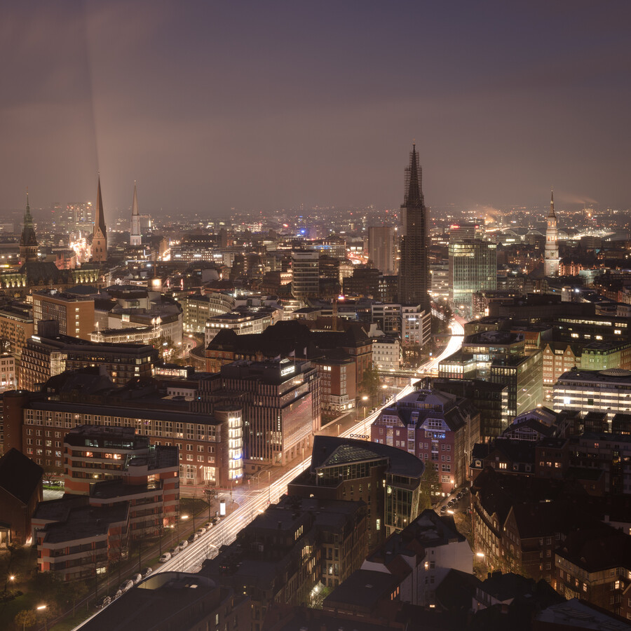 Bird`s-eye view city centre of Hamburg at night - Fineart photography by Dennis Wehrmann