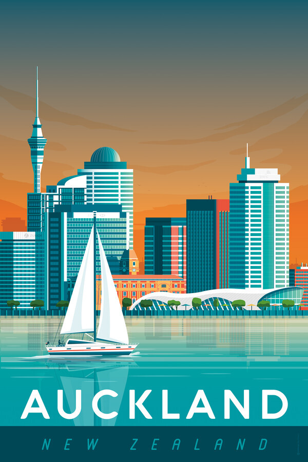Auckland Vintage Travel Wandbild - fotokunst von François Beutier
