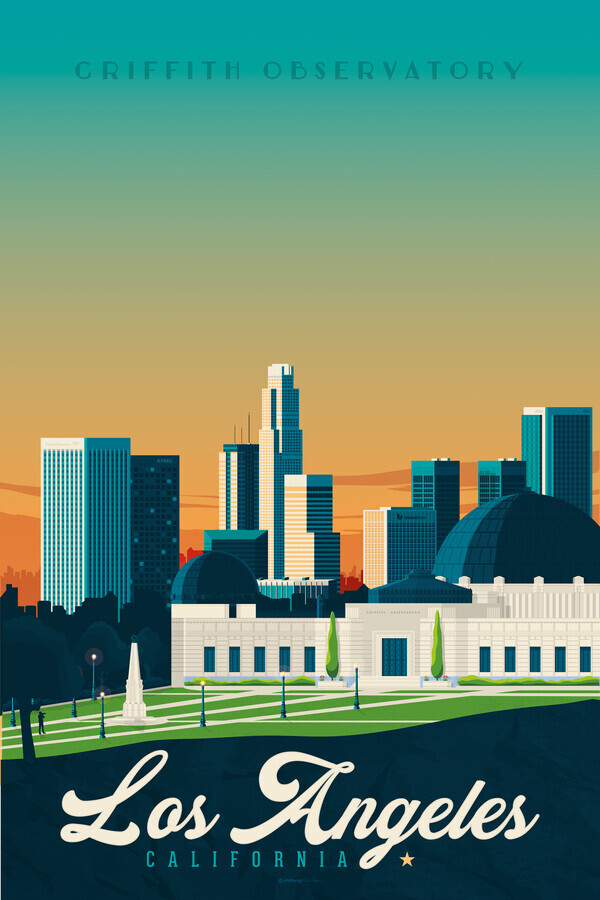 Los Angeles Griffith Observatory vintage travel wall art - Fineart photography by François Beutier