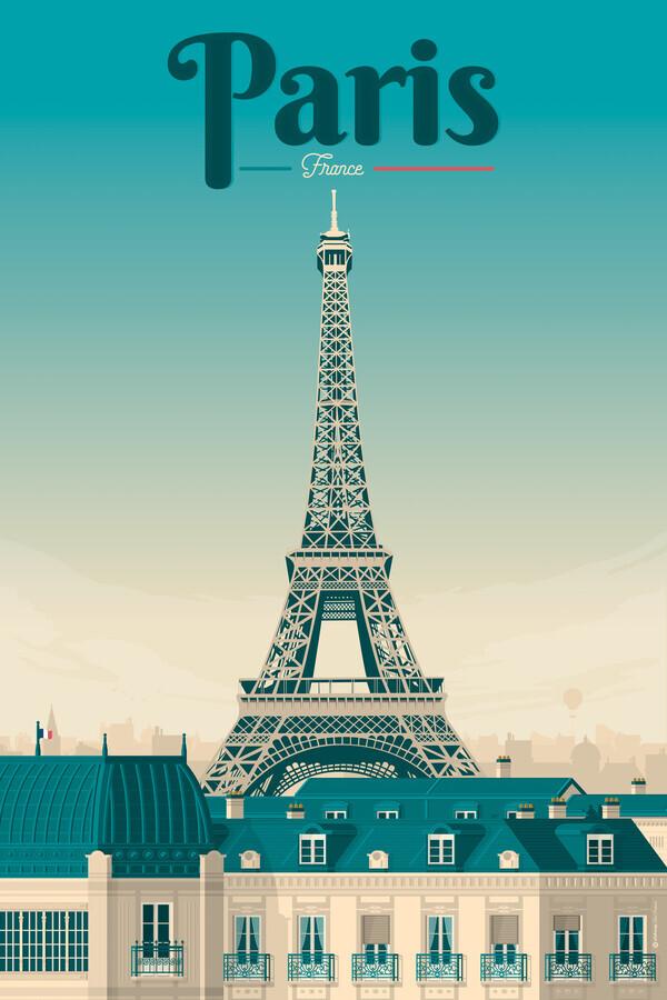 Eiffelturm Paris Vintage Travel Wandbild - fotokunst von François Beutier