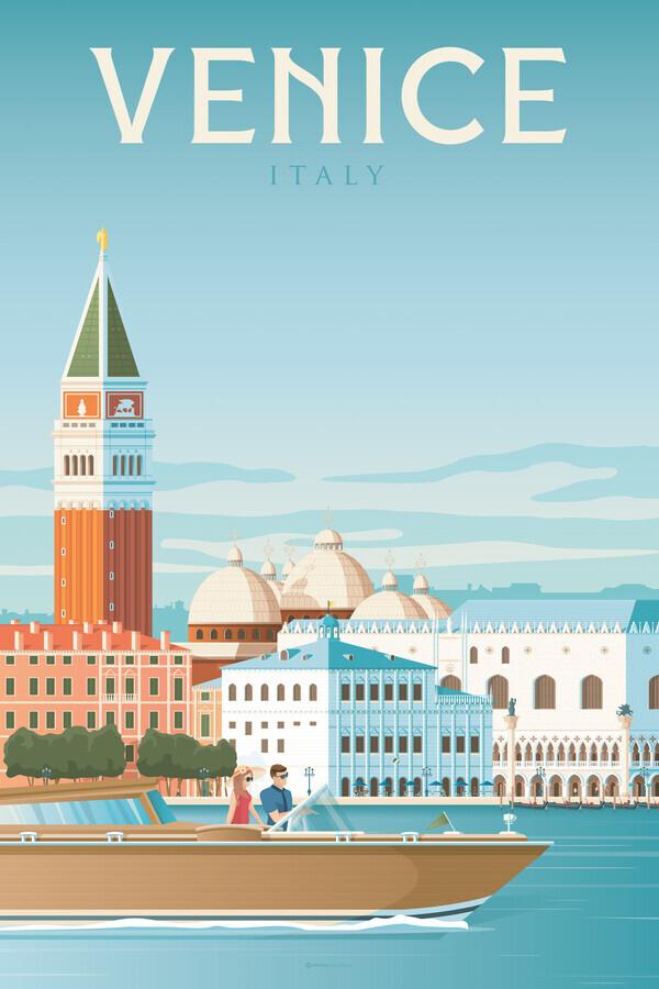 Venice Vintage Travel Wandbild - fotokunst von François Beutier
