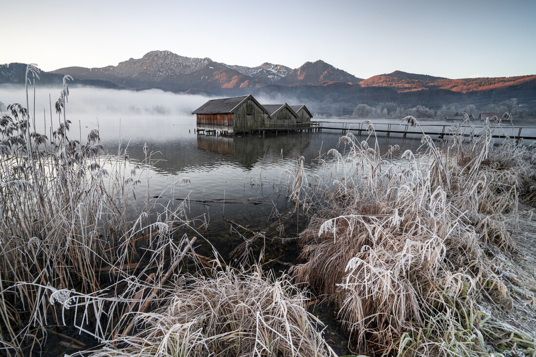 Three cabins at Lake Kochel I - Fineart photography by Franz Sussbauer