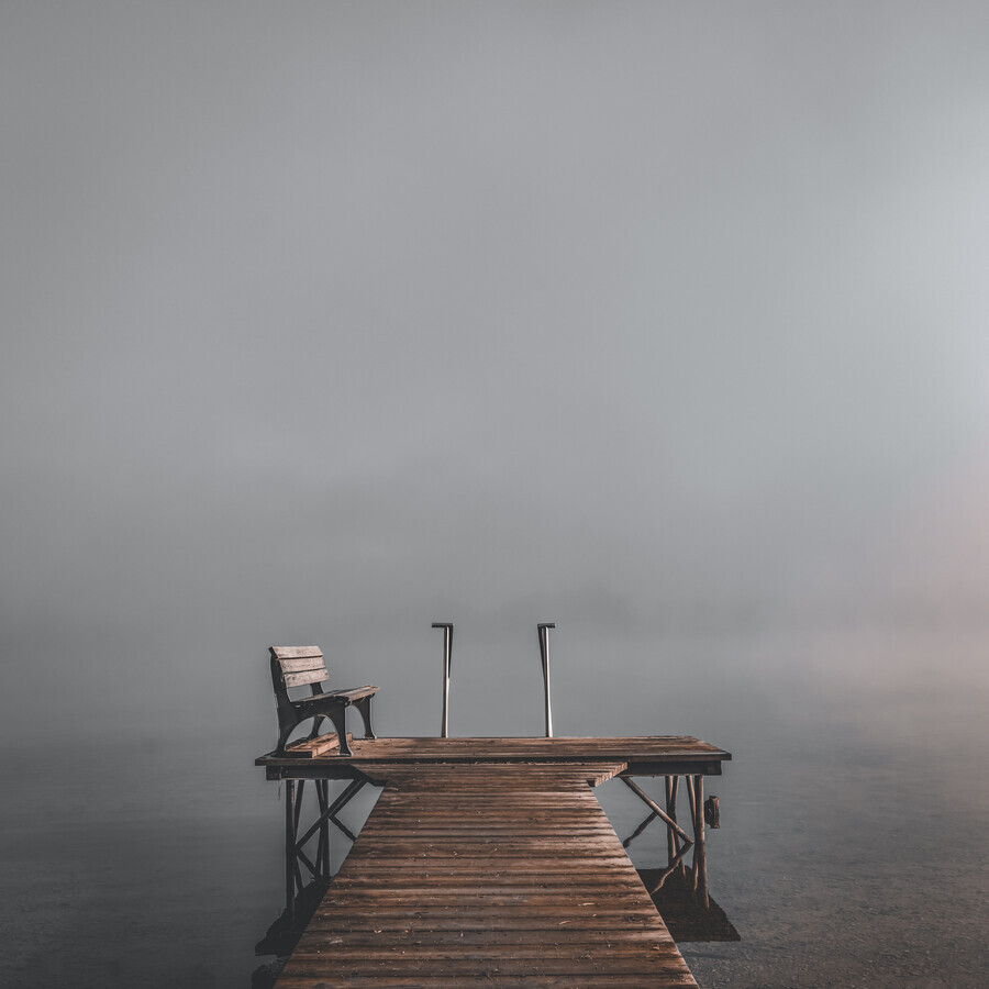 Jetty with bench - Fineart photography by Franz Sussbauer