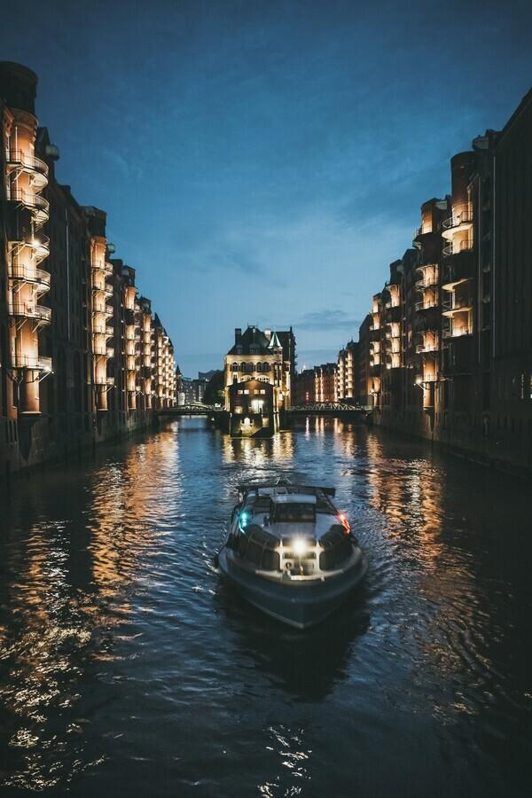 Hamburg City at night - Fineart photography by Patrick Monatsberger