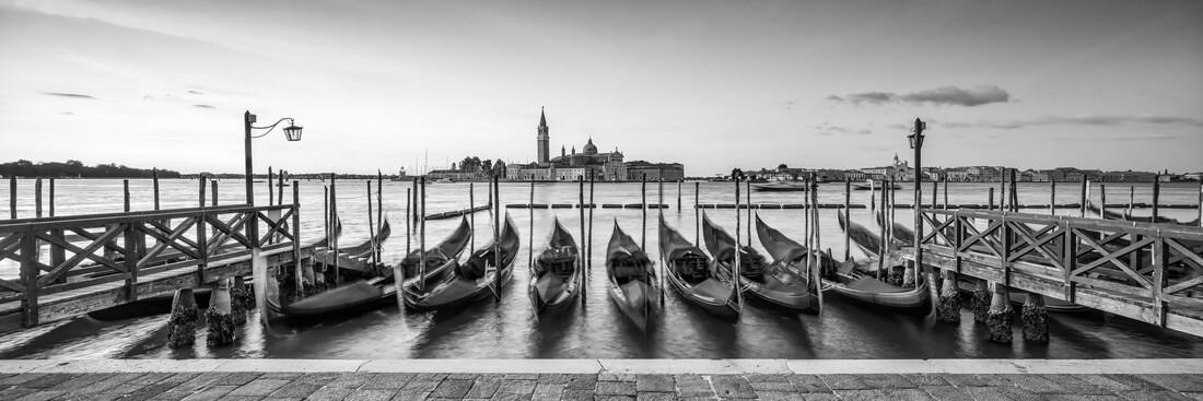 Gondolas on the pier in Venice - Fineart photography by Jan Becke