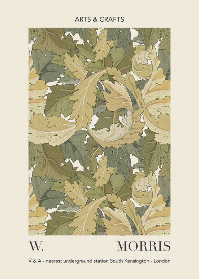 William Morris - green leaf pattern design - Fineart photography by Art Classics