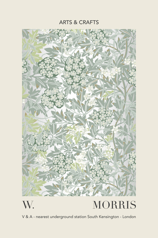 William Morris - gray / green leaf and floral pattern - Fineart photography by Art Classics