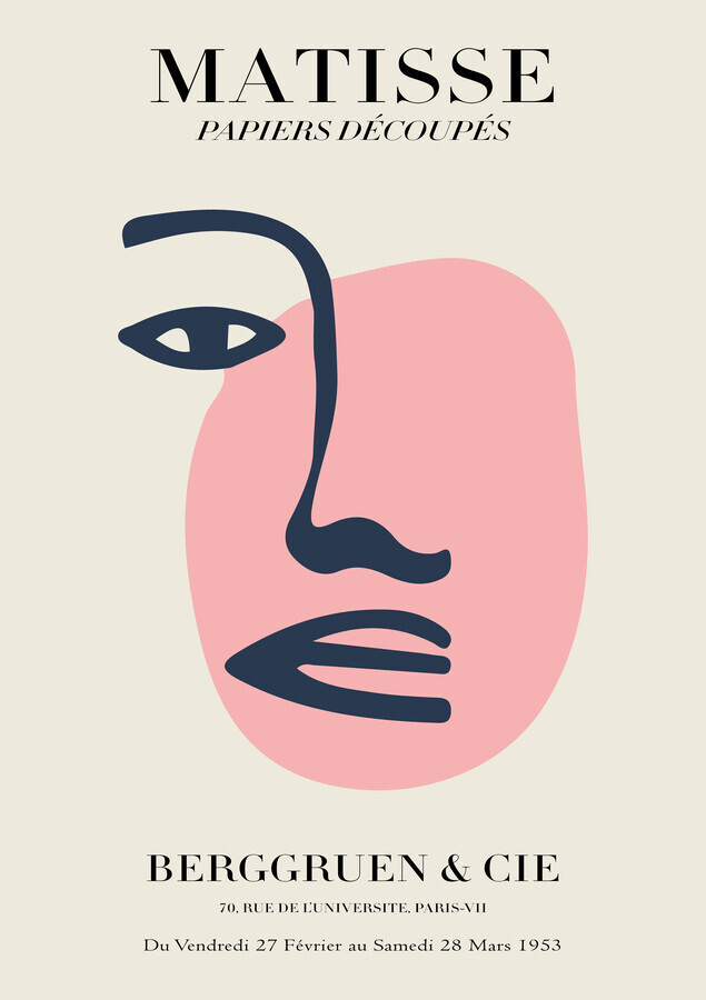 Matisse – Face Of A Woman, beige and pink - Fineart photography by Art Classics