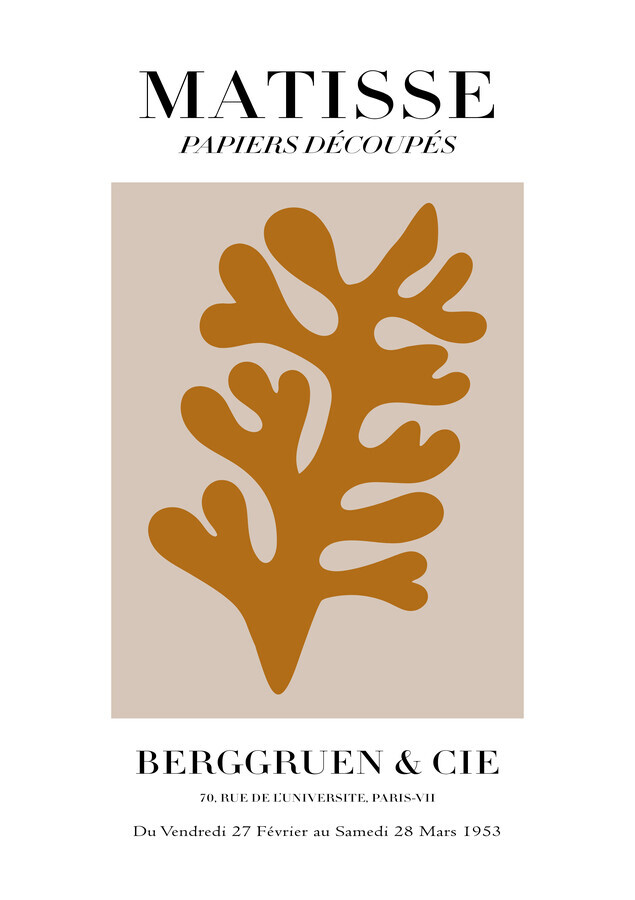 Matisse - Papiers Découpés, brown botanical design - Fineart photography by Art Classics