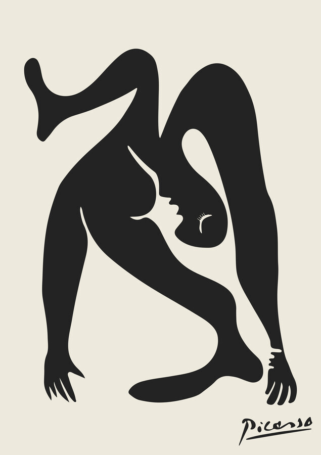 Picasso print in black and beige - Fineart photography by Art Classics