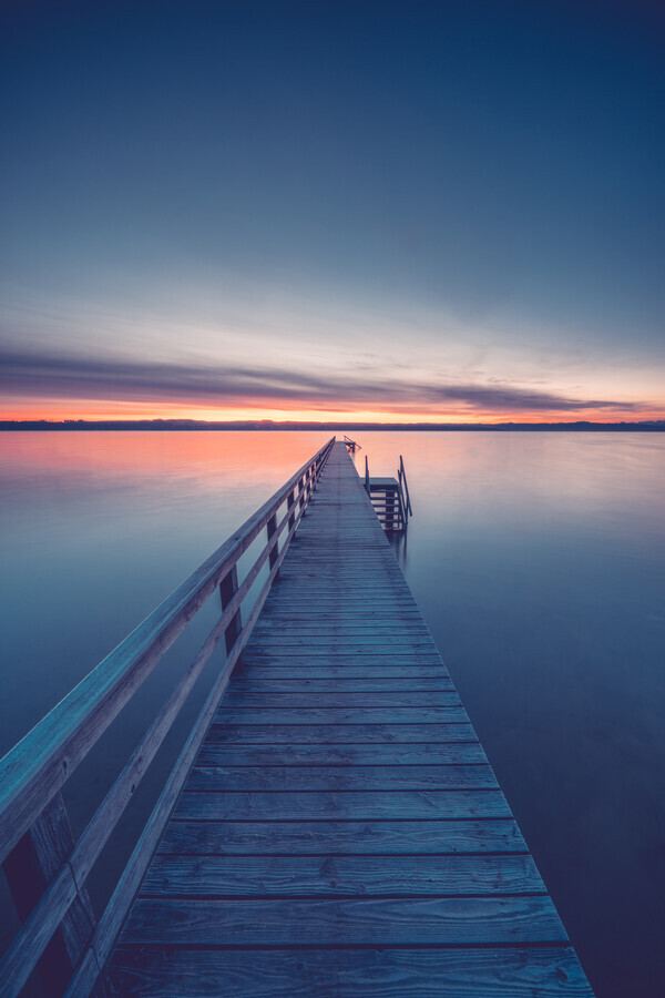 Jetty before sunrise - Fineart photography by Franz Sussbauer