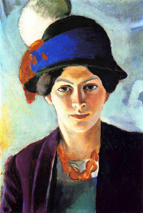 August Macke: Portrait of the artist's wife with a hat - Fineart photography by Art Classics