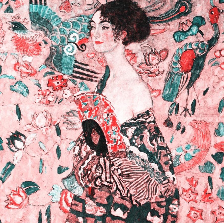 Gustav Klimt: Woman with Fan (pink) - Fineart photography by Art Classics