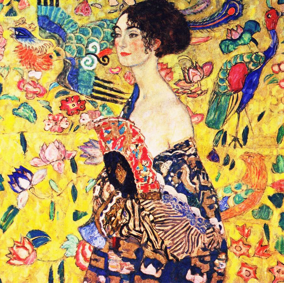 Gustav Klimt: Woman with Fan - Fineart photography by Art Classics