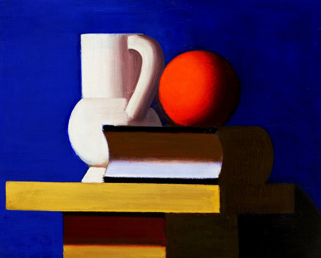 Vilhelm Lundstrøm: Still Life with White Jar, Orange and Book - Fineart photography by Art Classics