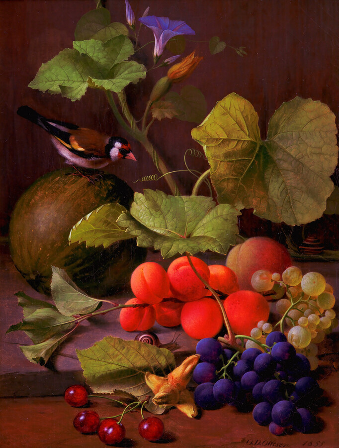 O.D. Ottesen: Still Life with Fruits and a Goldfinch - Fineart photography by Art Classics