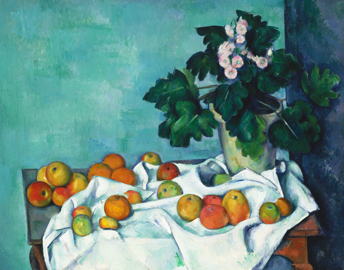 Paul Cézanne: Still Life with Apples and a Pot of Primroses - Fineart photography by Art Classics