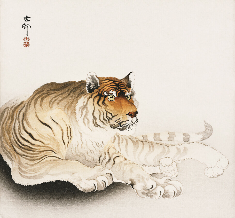 Tiger von Ohara Koson - fotokunst von Japanese Vintage Art