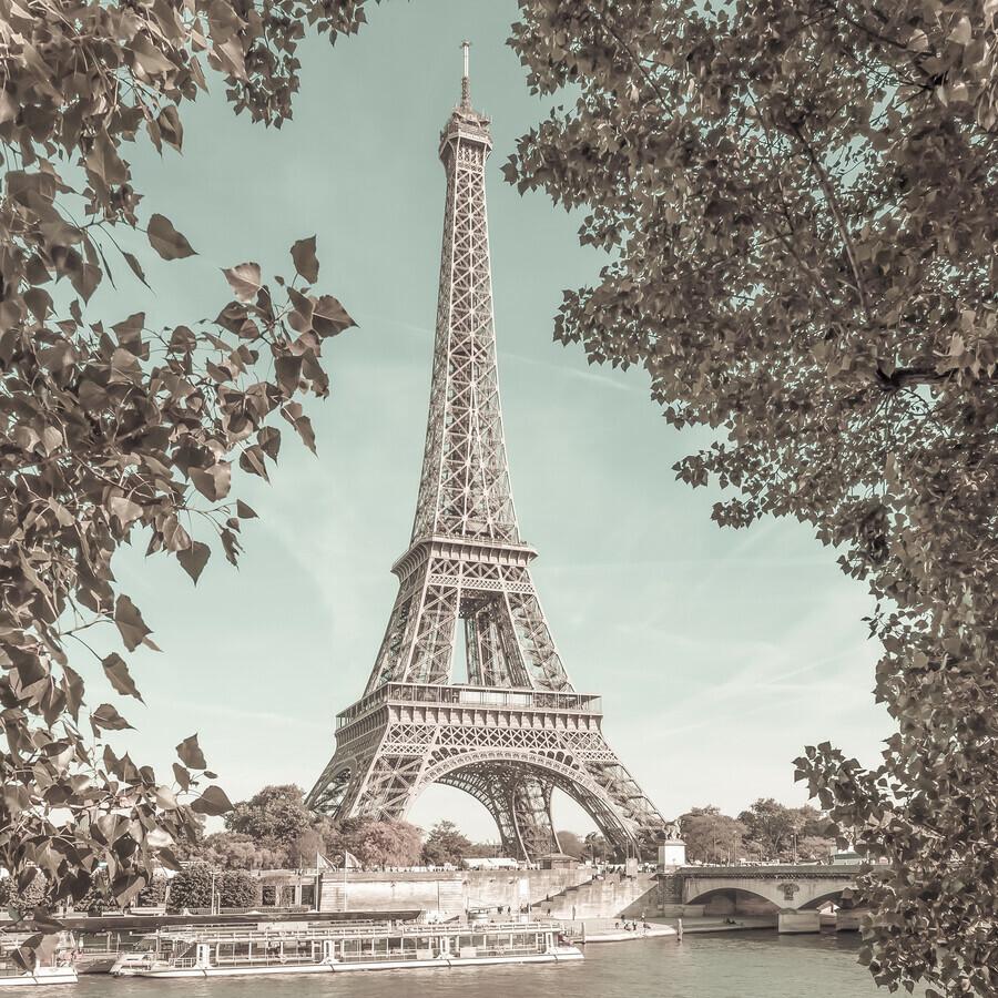 PARIS Eiffel Tower and River Seine urban vintage style - Fineart photography by Melanie Viola