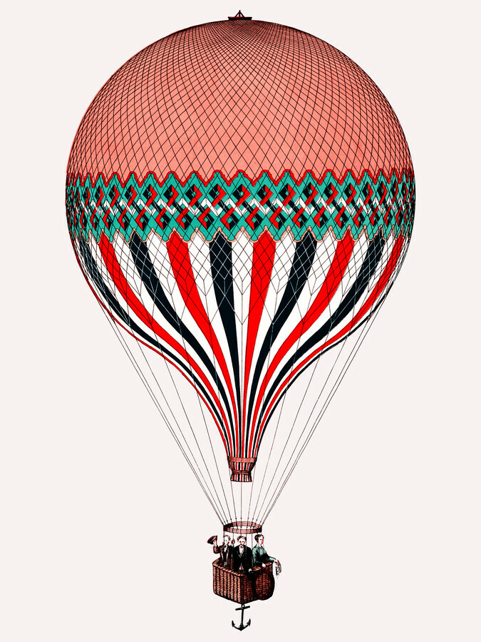 Vintage illustration hot air balloon - Fineart photography by Vintage Collection
