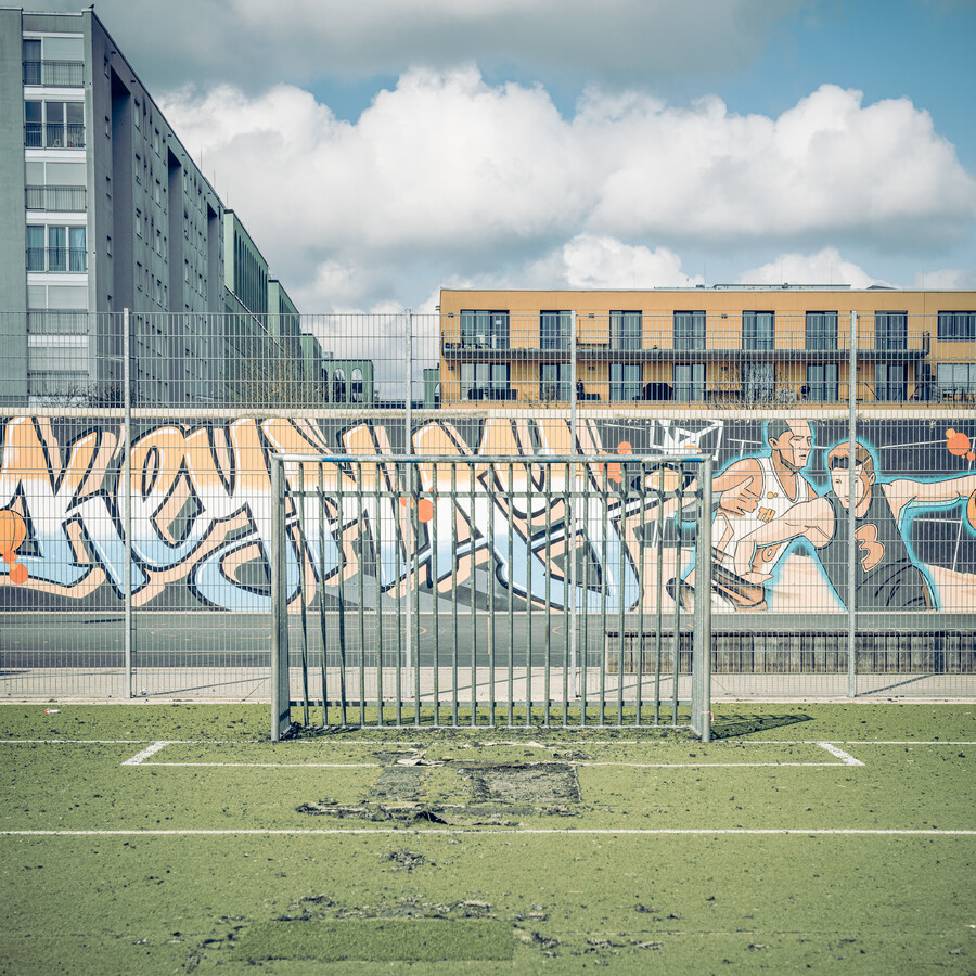 ARTIFICIAL GRASS, BOARD FENCE, GRAFFITI - Fineart photography by Franz Sussbauer