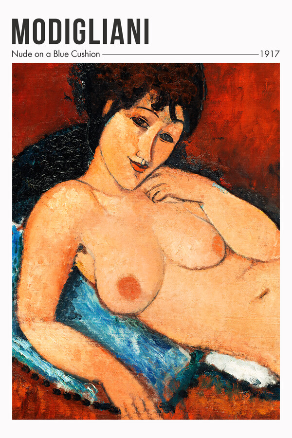 Nude On A Blue Cushion by Modigliani - Fineart photography by Art Classics
