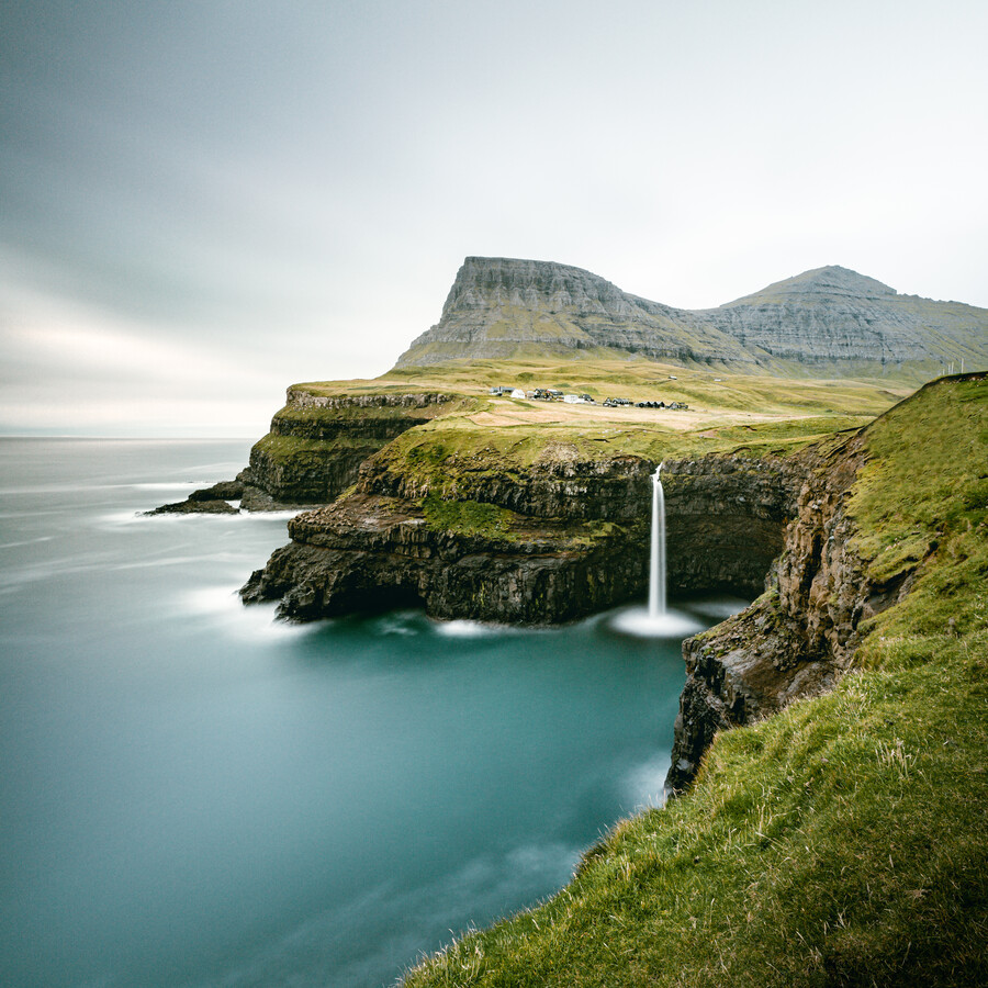 Gásadalur and Múlafossur waterfall II - Fineart photography by Franz Sussbauer