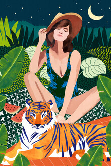 Uma Gokhale, iving In The Jungle, Tiger Tropical Picnic Illustration, Forest Woman (India, Asia)