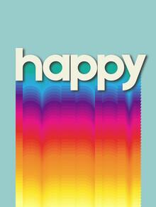 Ania Więcław, HAPPY - retro rainbow typography (Poland, Europe)