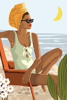 Uma Gokhale, Moon Child, Beach Vacation, Black Woman Illustration Travel Ocean (Indien, Asien)