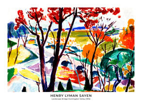 Art Classics, Henry Lyman Saÿen: Landscape Bridge Huntingdon Valley - exh. poster (France, Europe)