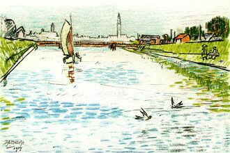 Art Classics, Jan Toorop: View of a Canal with a Sailing Ship (Netherlands, Europe)
