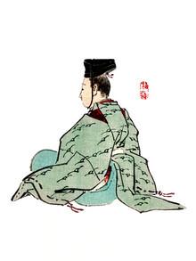 Japanese Vintage Art, Alter japanischer Kaiser von Kōno Bairei (Japan, Asien)