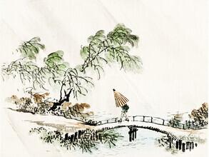Japanese Vintage Art, Ein Mann überquert die Brücke von Kōno Bairei (Japan, Asien)