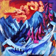 Art Classics, Ernst Ludwig Kirchner: Winter Landscape in Moonlight (Germany, Europe)