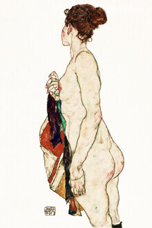 Art Classics, Egon Schiele: Standing Nude woman with a Patterned Robe (Austria, Europe)