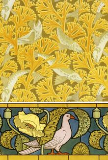 Art Classics, Maurice Pillard Verneuil: Poisson et algues, papier peint; pigeon et p (France, Europe)