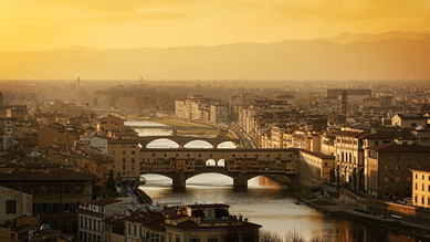 Raphael Wildhaber, Ponte Vecchio at Sunset, Florence (Italy, Europe)