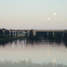 Nadja Jacke, Bielefeld Obersee - Lake with Bridge for trains - double exposure (Germany, Europe)