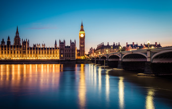 London Westminster Bridge und Palace of Westminster - fotokunst von David Engel