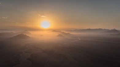 bird´s eye view: sunrise namib naukluft park sossusvlei namibia, luftaufnahme: sonnenaufgang im namib naukluft park  nahe der sossusvlei in namibia - fotokunst von Dennis Wehrmann