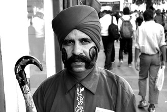 Vijay Koul, Guard displaying his moustaches (India, Asia)