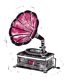 Bianca Green, Linocut Gramophone (Germany, Europe)