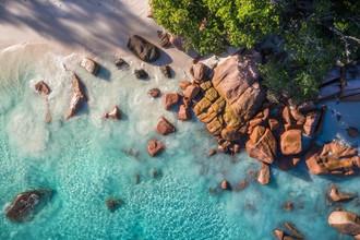 Jean Claude Castor, Seychellen Anse Lazio Luftaufnahme (Seychellen, Afrika)